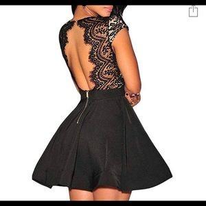 V Neck Lace Open Back Skater Cocktail Dress